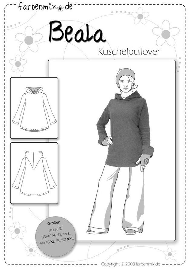 Oberteile & Jacken - Farbenmix Schnittmuster BEALA Pullover Damen - ein Designerstück von Stoffkobold bei DaWanda
