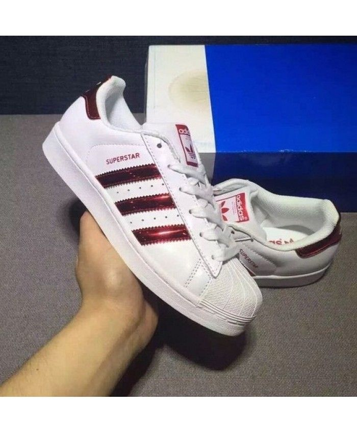 Adidas Superstar Junior White Red Iridescent Womens Trainers ... d1353a16eee