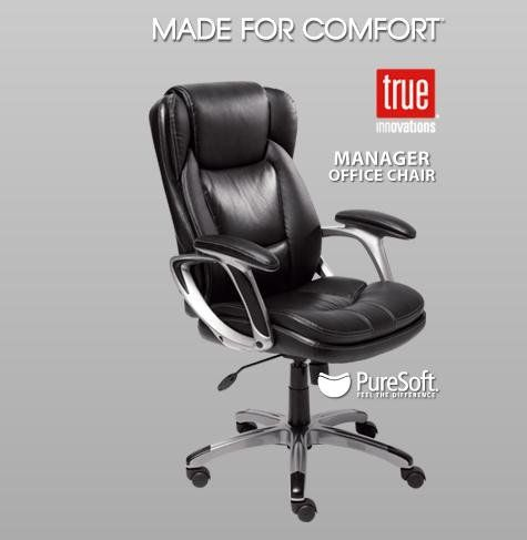black leather manager office chair with deep soft body pillows