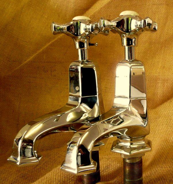 Beautiful restored original Chrome Art Deco bath taps. Matching ...