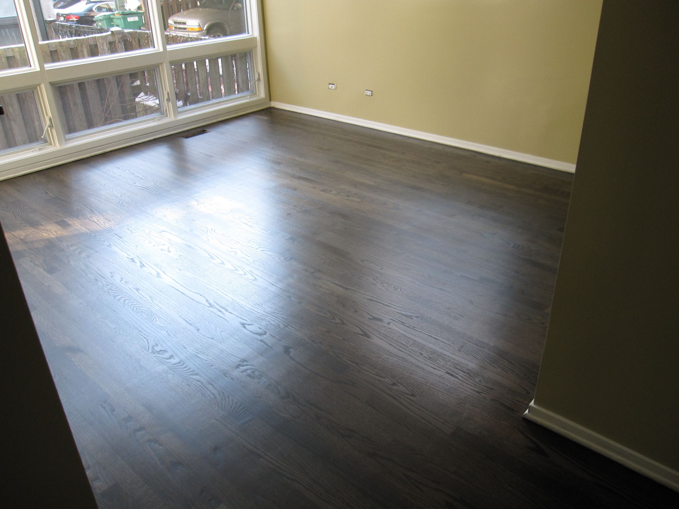 hardwood floor refinish using duraseal ebony stain chicago, il
