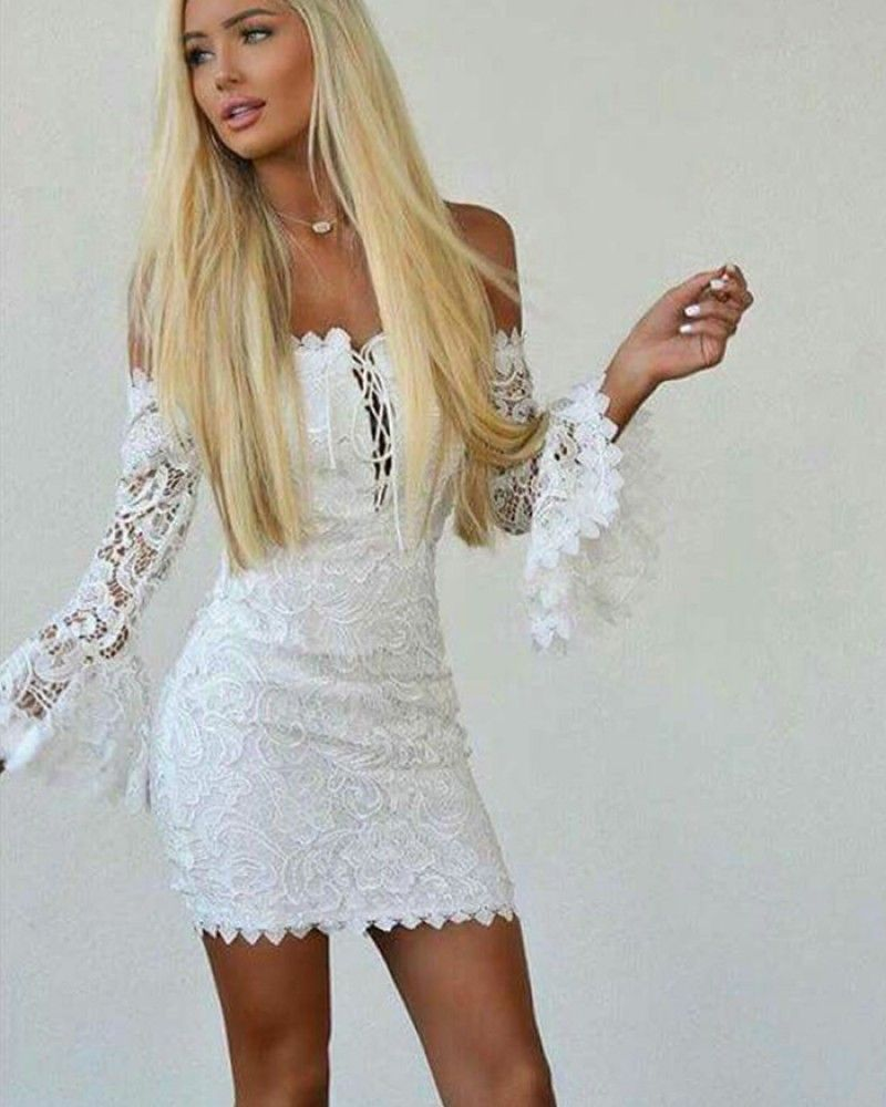 f675783a63c Off the Shoulder White Criss Cross Lace Tight Club Dress with Bell Sleeves  HD3207