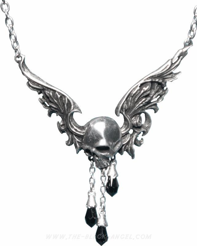 'Requiem Volatilis' necklace by Alchemy Gothic, winged skull with Swarovski droppers.