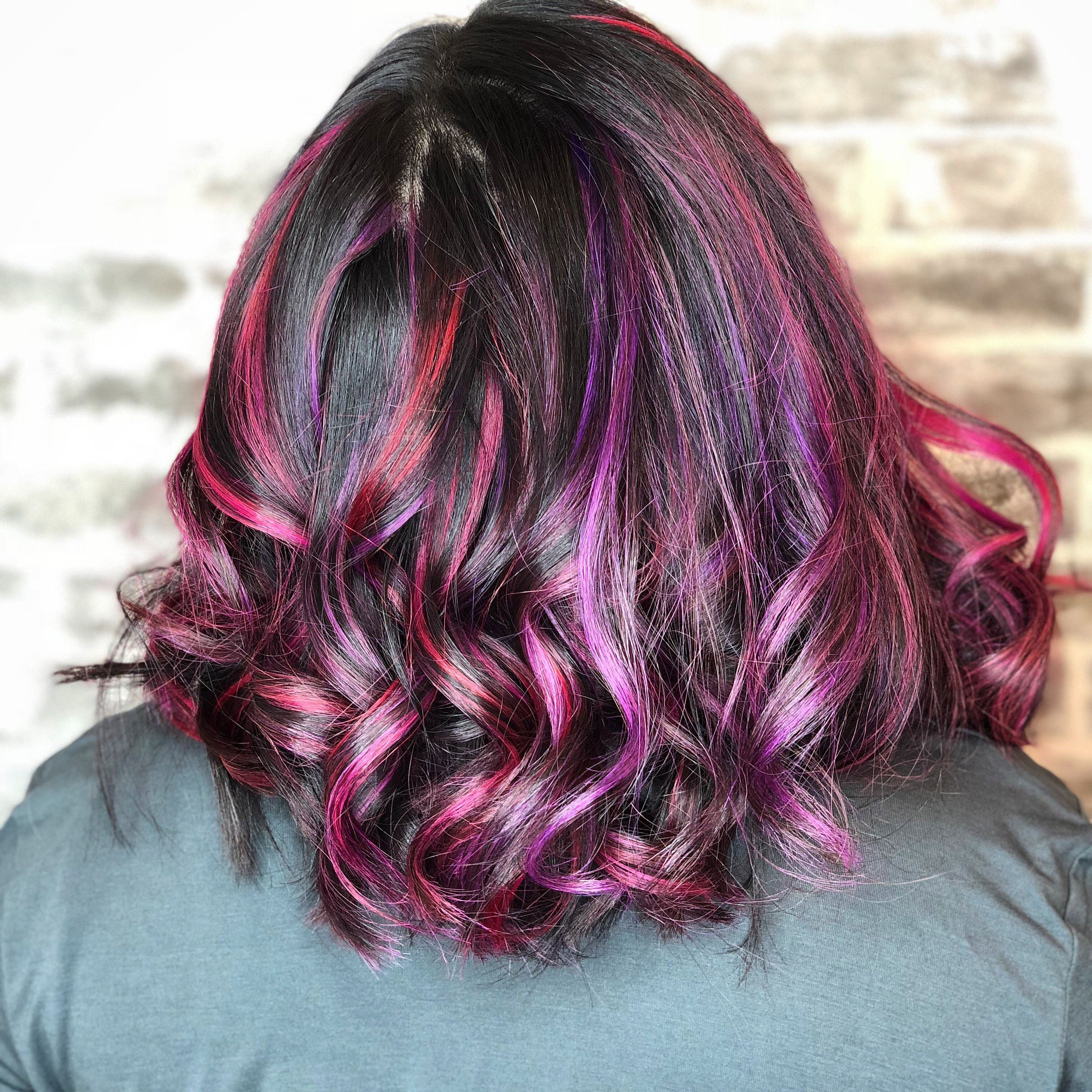 Asian Hair Purple Pink Red Highlights On Black Hair Purplehair Galaxyhair Multicolorhair Asian Hair Black Hair With Highlights Multi Colored Hair