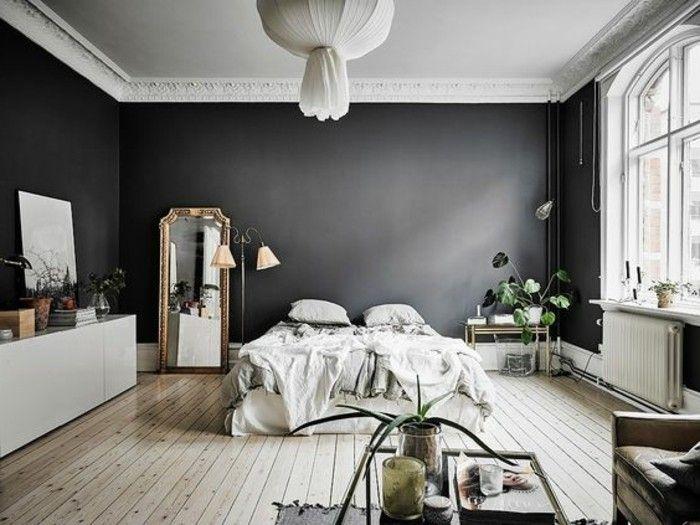Chambre Adulte Complete Murs Gris  Anthracite Sol En Planches Murs Noirs Meubles Blancs