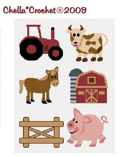 FARM FRIENDS Crochet Patterns PIG and BABY CHICK Graph Afghan Pattern