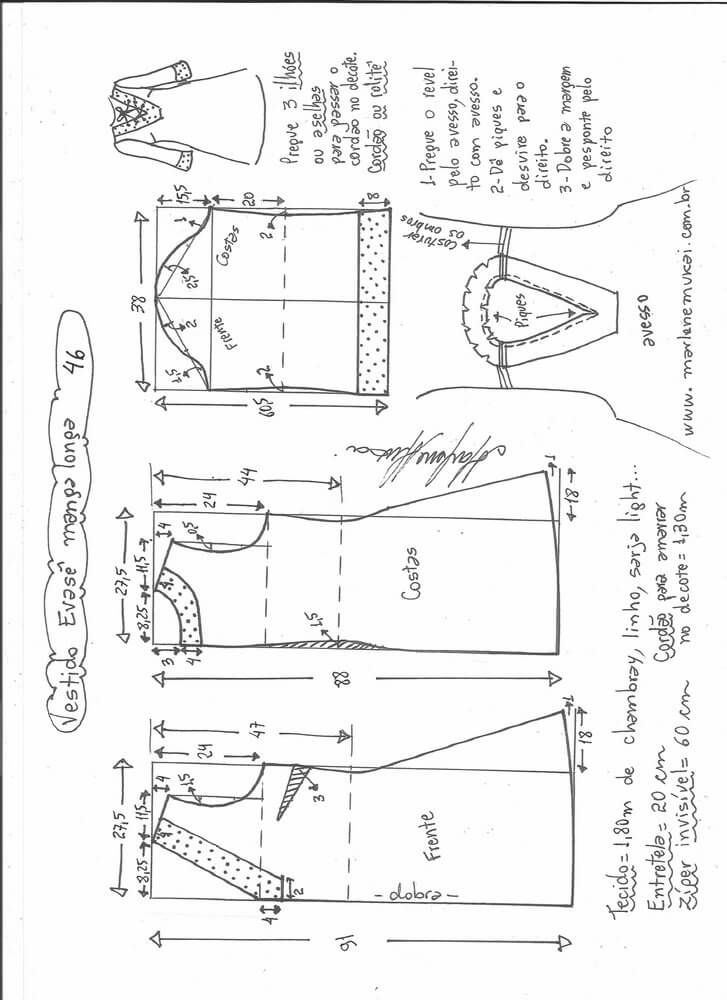 Patrón vestido acampanado con manga | #VESTIDO #DRESS #HECHOAMANO ...