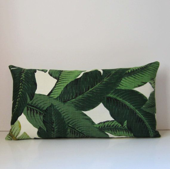 Palm Pillow Cover Green Floral 11 X 21 Inch By Studiotullia 25 00 Palm Pillow Pillows Pillow Covers