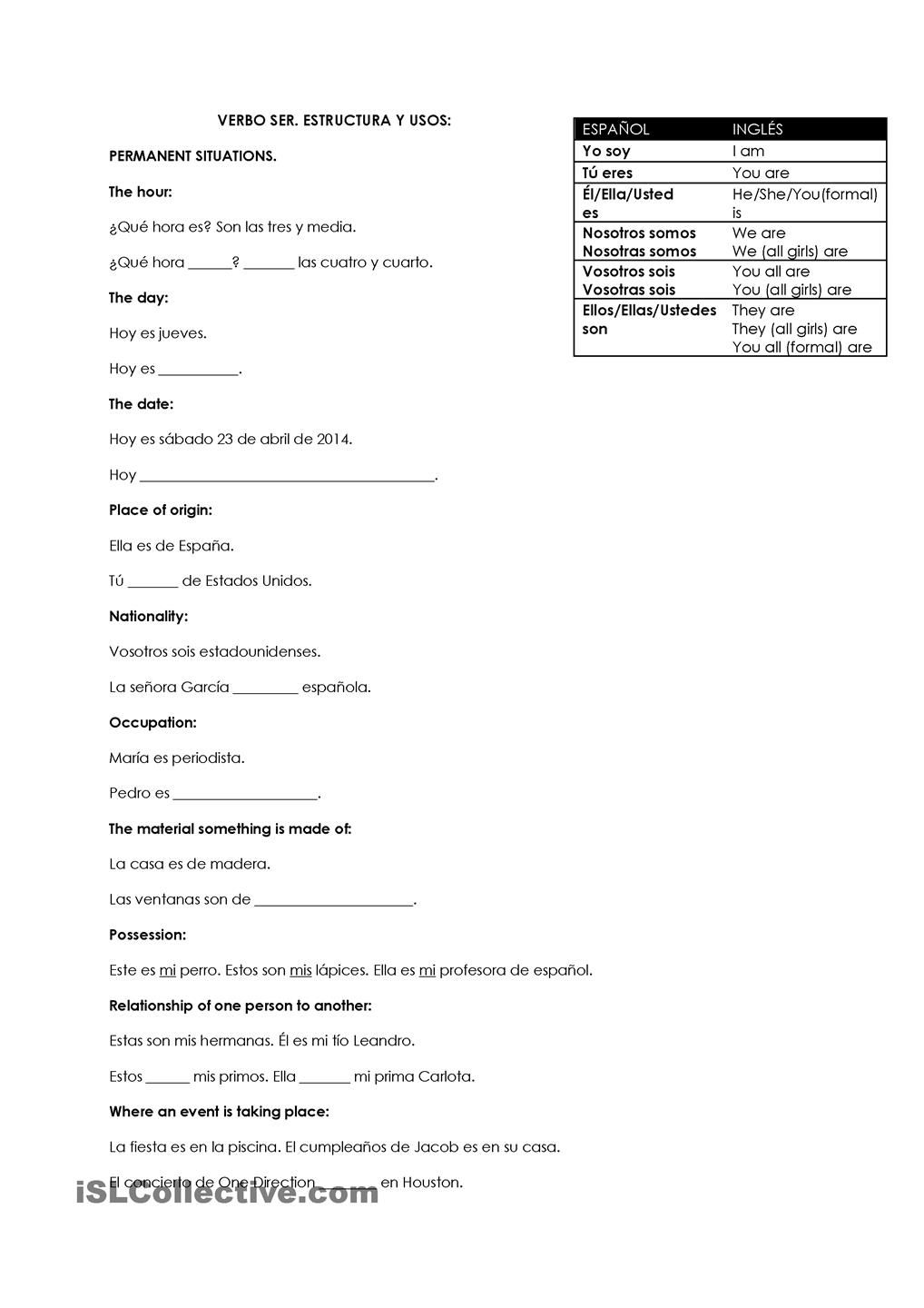 Uncategorized Ser And Estar Worksheet verbo ser y estar usos estructura serestar pinterest spanish estructura