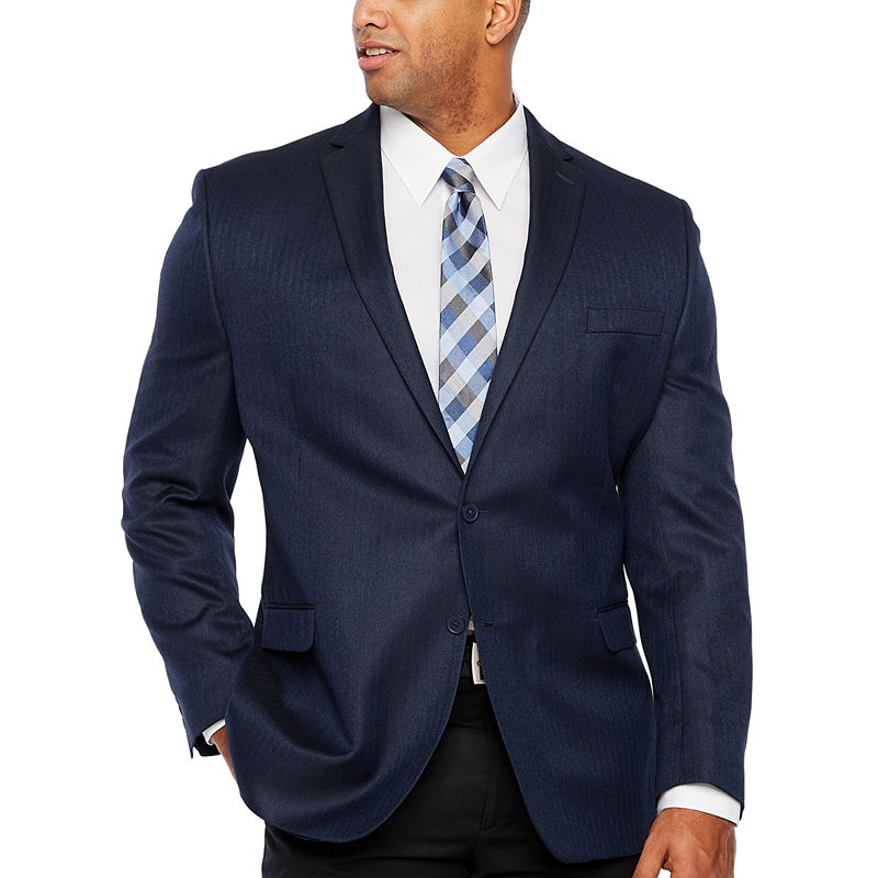 7a31281f Collection by Michael Strahan Blue Herringbone Classic Fit Sport ...