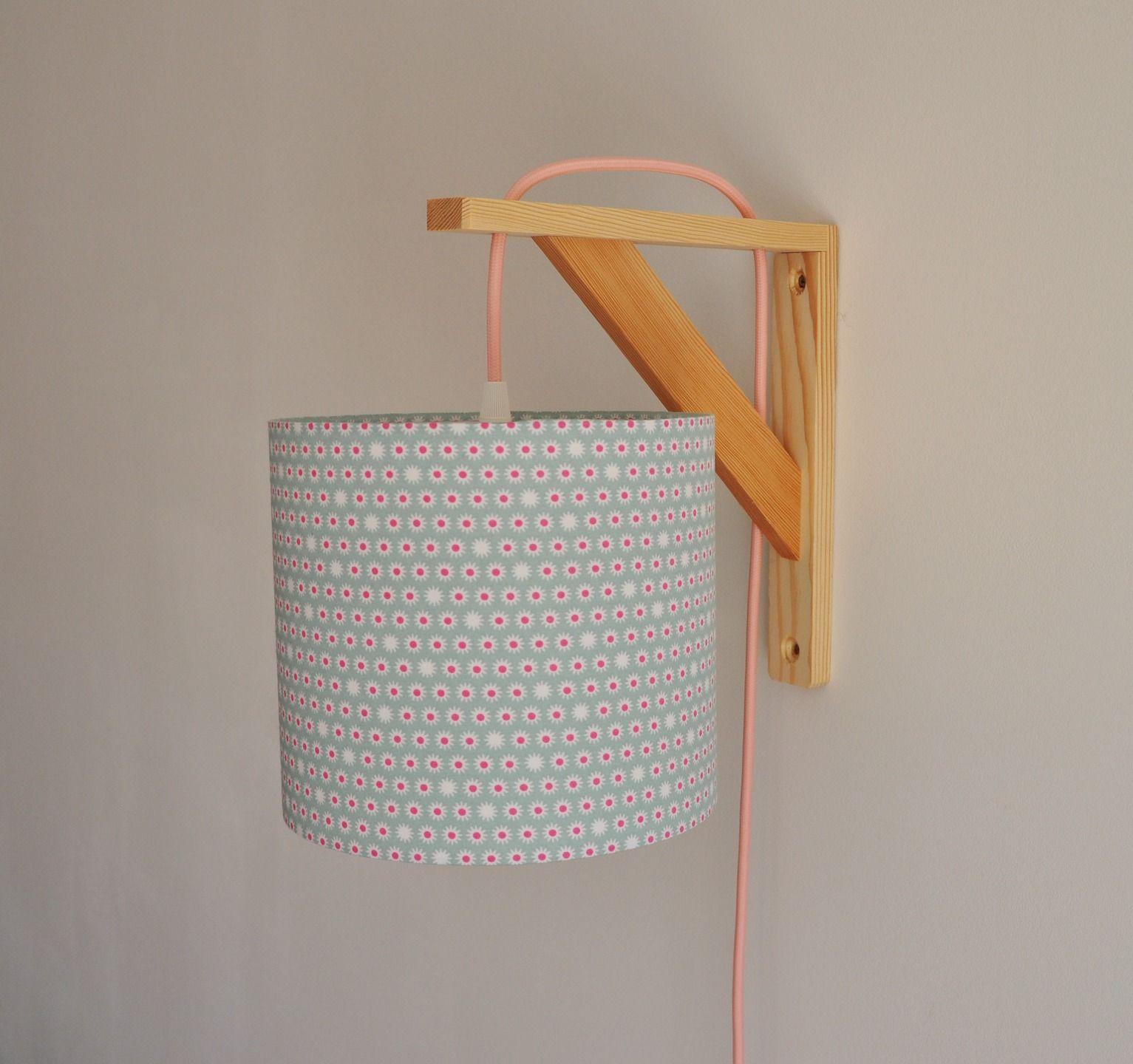 lampe équerre - applique murale - abat-jour rose et vert - cordon