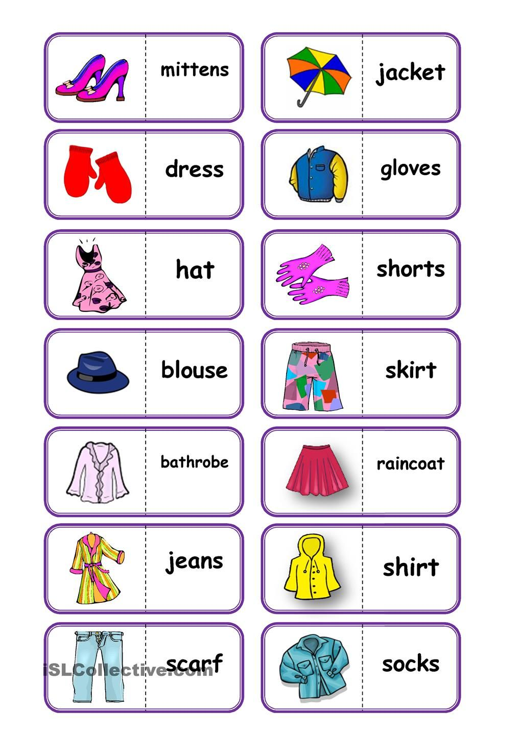 Clothes, domino   Table Games   Pinterest   Clothes, English and ...