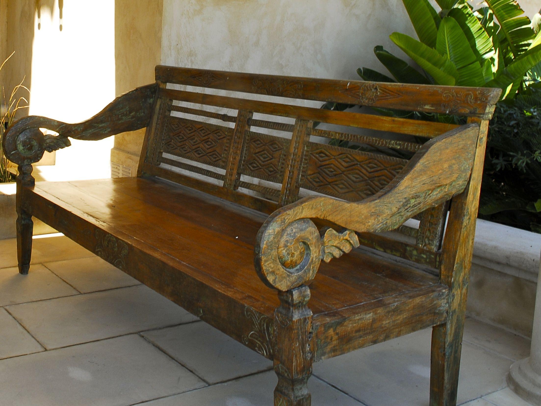 Banca de teca antigua de Indonesia...   Bancas   Pinterest   Antigua ...