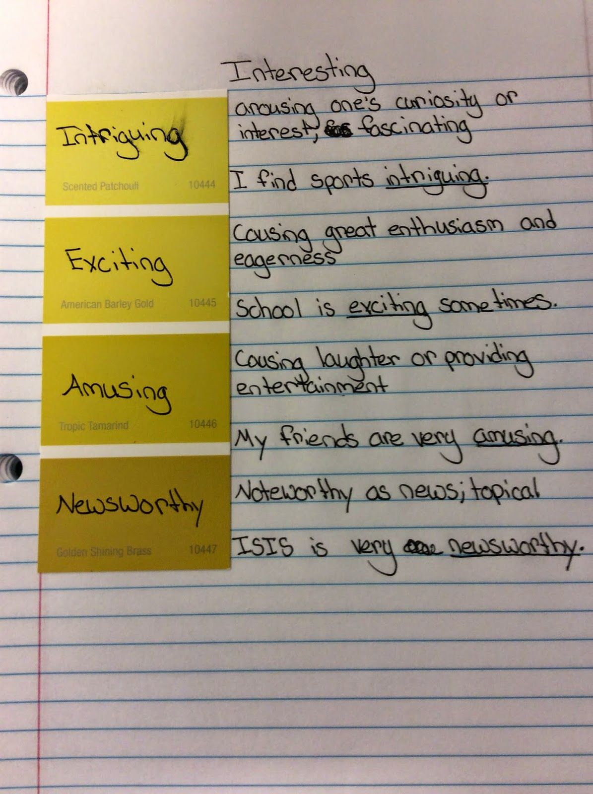 Student Notebook Page For Connotations Students Could Also Shade In