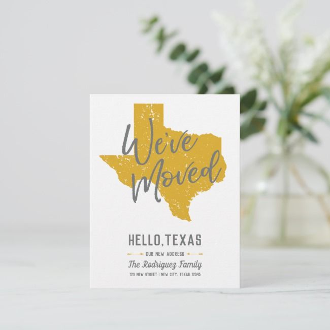 Mellow Yellow We Ve Moved Texas Announcement Postcard