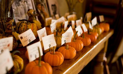 Mini Pumpkin Wedding Place Cards. Also cool to mark potluck food with..?