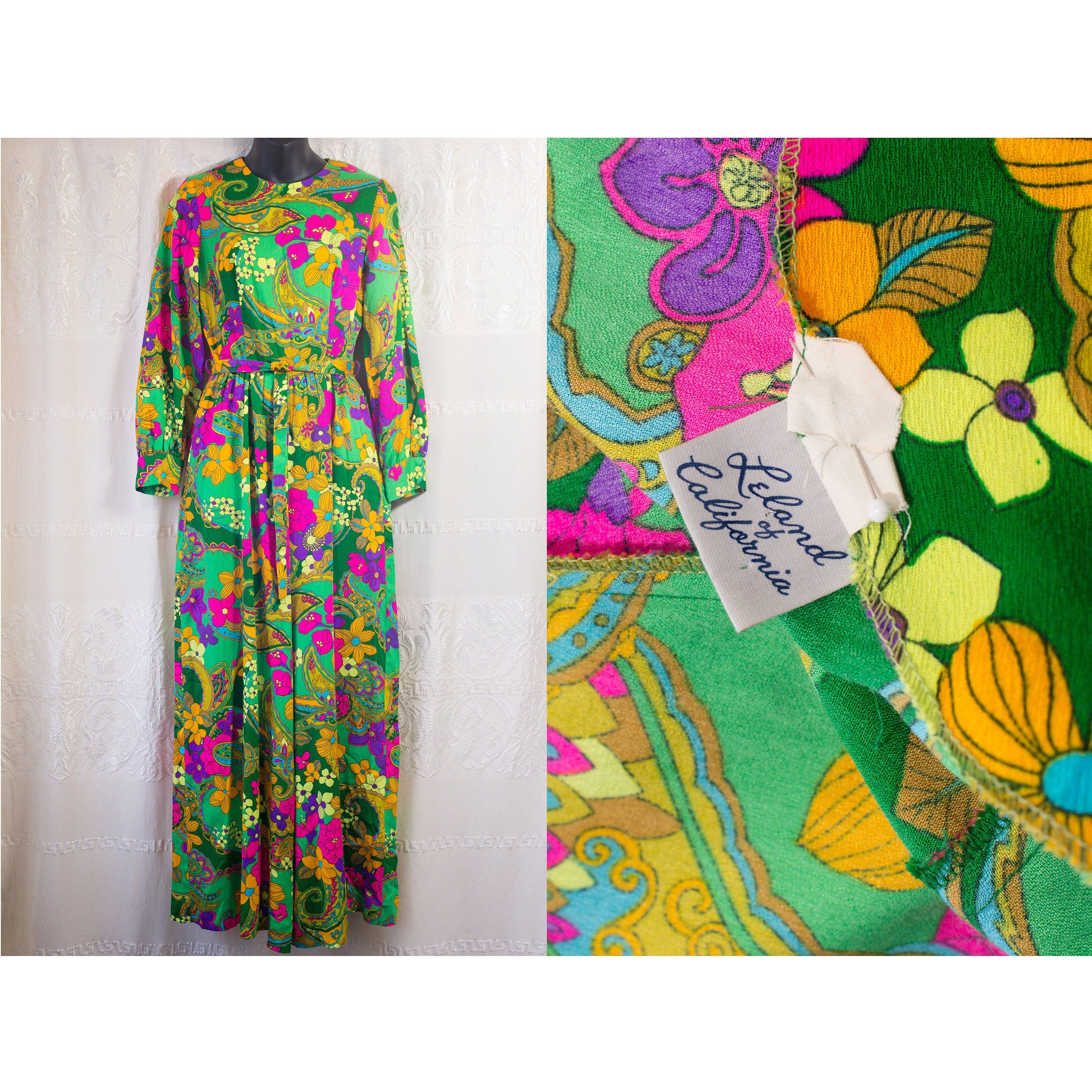 Amazing 1960/'s Psychedelic Jumpsuit with Original Belt Leland of California Size Small