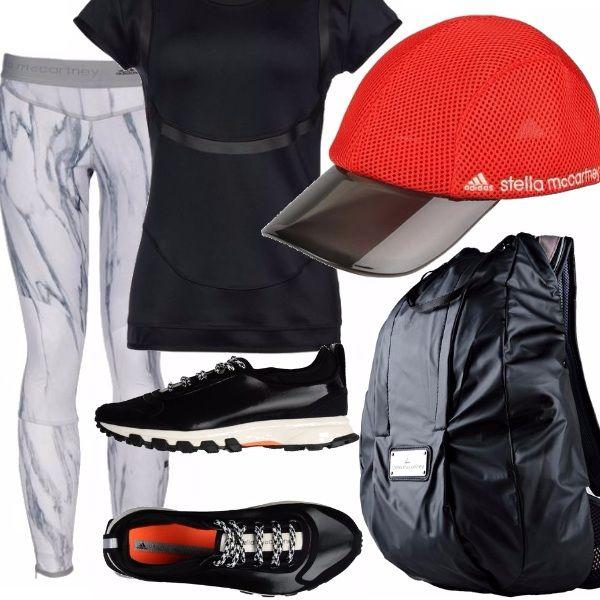 Insieme per lo sport griffato Stella McCartney per Adidas favolosi i leggings tecnici con stampa marmorizzata e le trainers adatte anche in città! Lo zaino sportivo, moderno perfetto  anche a scuola!!