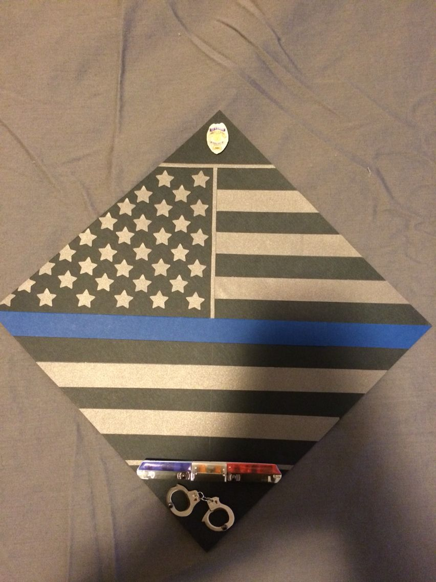 my boyfriend plans on going into law enforcement sometime after law enforcement police thin blue line graduation cap