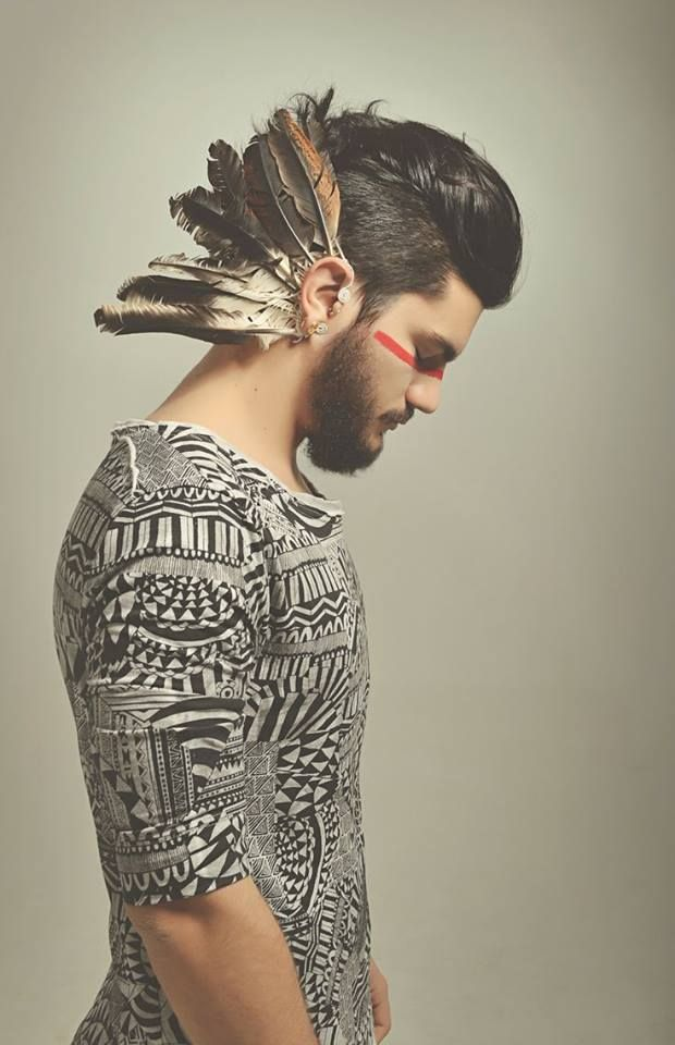 Cool Men Hairstyles Feathers Conceptual  Portrait  Pinterest