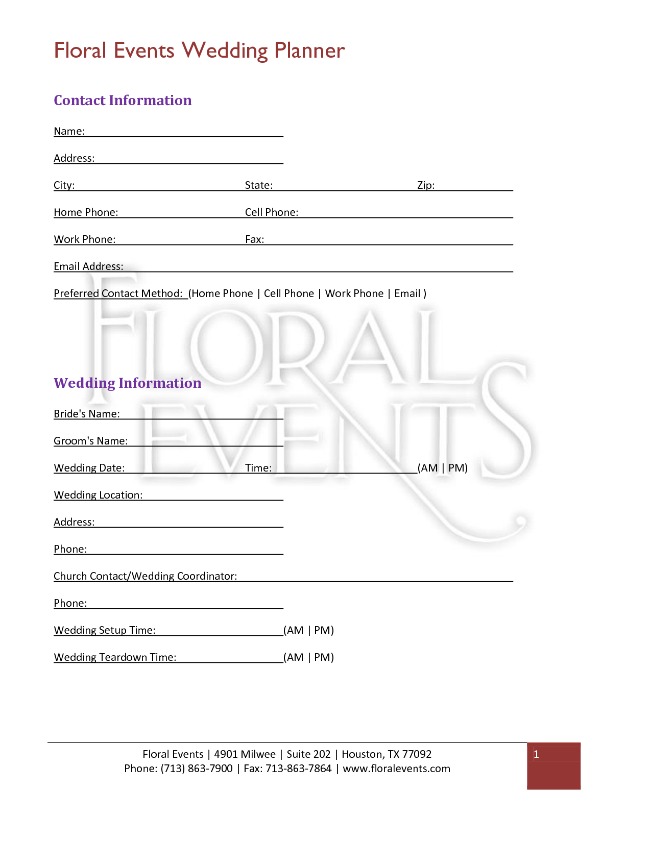 Florist Wedding Contract  For Posies  Poms