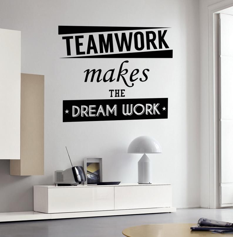 wall vinyl decal quote teamwork makes the dream work words on wall stickers for home id=93546