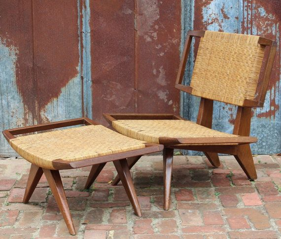Vintage Mid Century Modern Cane Chair & Ottoman designed by Paul