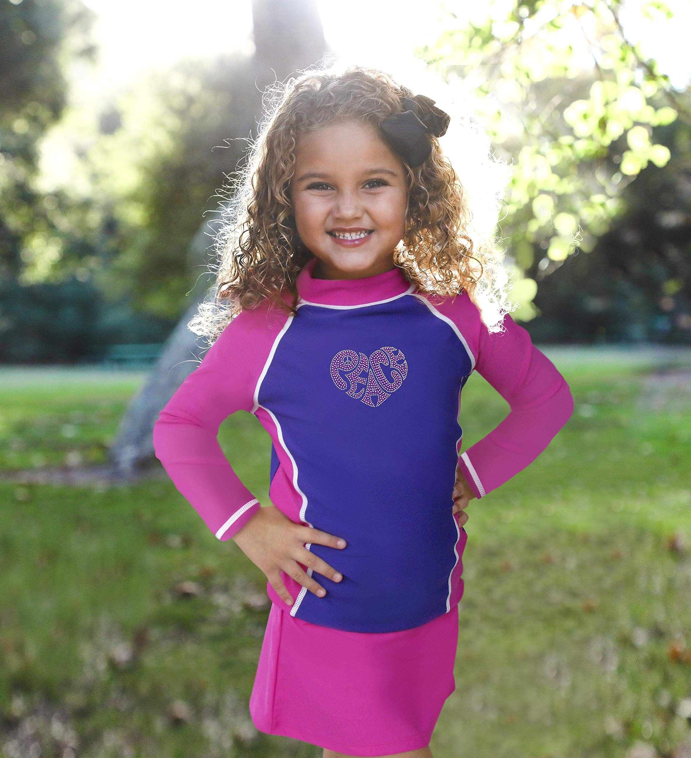 grUVywear Girls Long Sleeve Rashguard Bikini Skirt Set Sun Protection Swimsuit