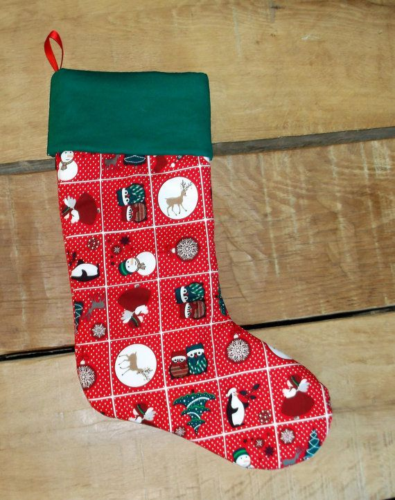 Unique Christmas Stocking, Vintage Christmas sock, Snowman decoration, handmade Xmas decs, stocking stuffer, home made stockings, Tree decor