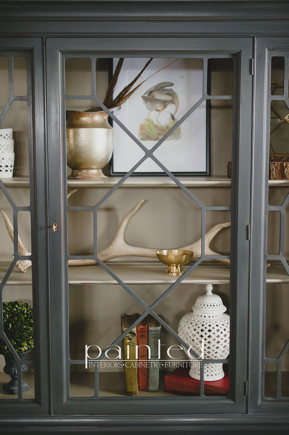 Antique china cabinet painted in Annie Sloan Graphite and French Linen - China Cabinet Painted With Annie Sloan Chalk Paint In Graphite And