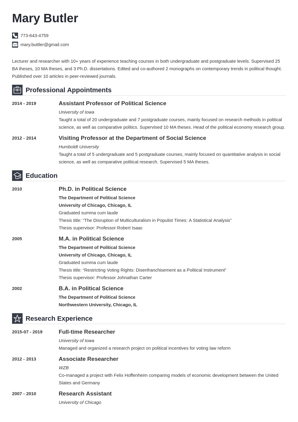 professor cv example template iconic in 2020 Guided