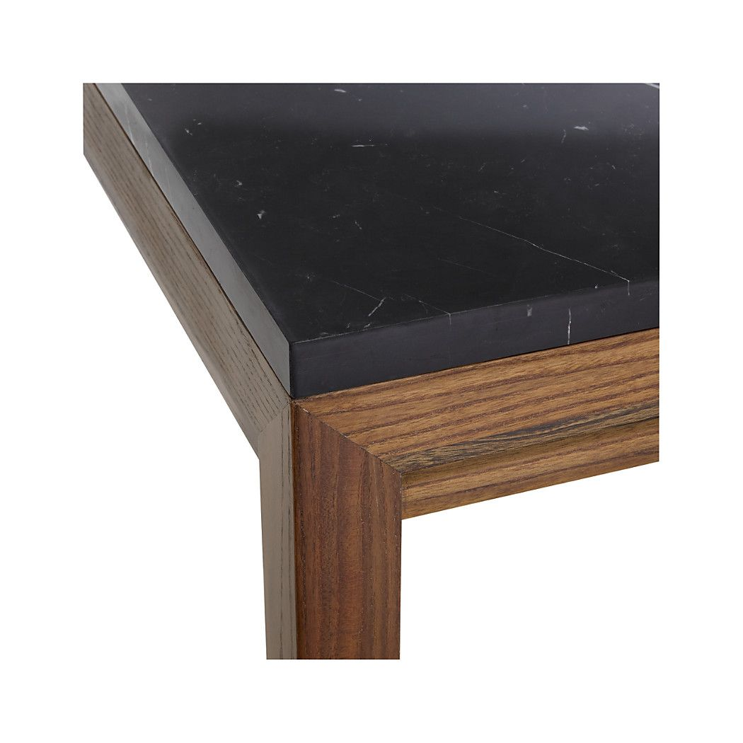 Shop Black Marble Top Elm Base Parsons Dining Tables Each Base Is Constructed Using Traditional Chinese Joinery Marble Top Black Marble Dining Table Marble