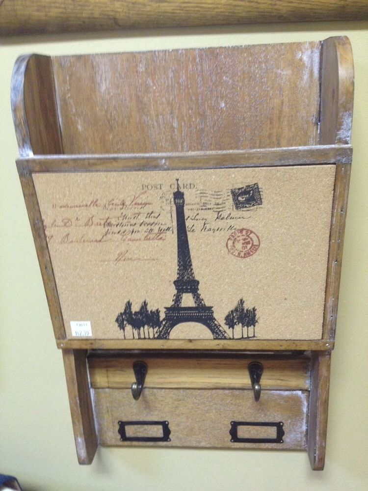 New Paris Eiffel Tower Vintage Style Corkboard Message Center With Cubby & Hooks