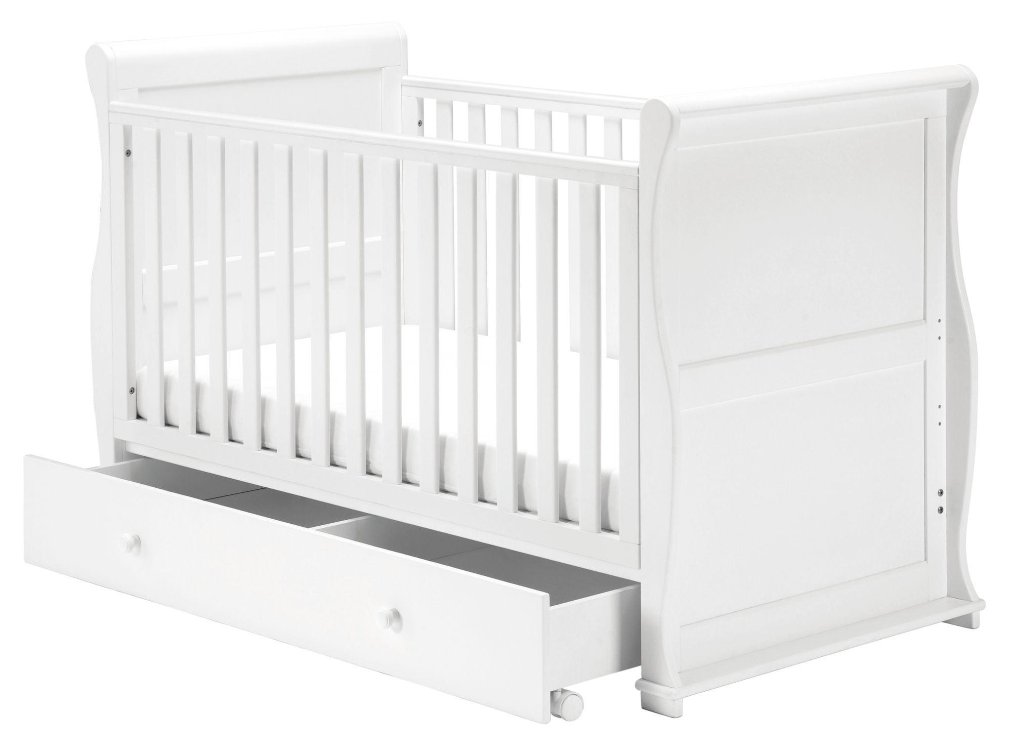- East Coast Nursery Alaska White Sleigh Cot Bed - White Baby
