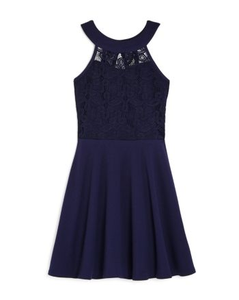 Sally Miller Girls' Ava Lace Fit-and-Flare Dress - Big Kid - Navy #sallymiller