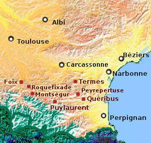 Map Of Cathar Castles Historische Karten Frankreich Und Landkarte