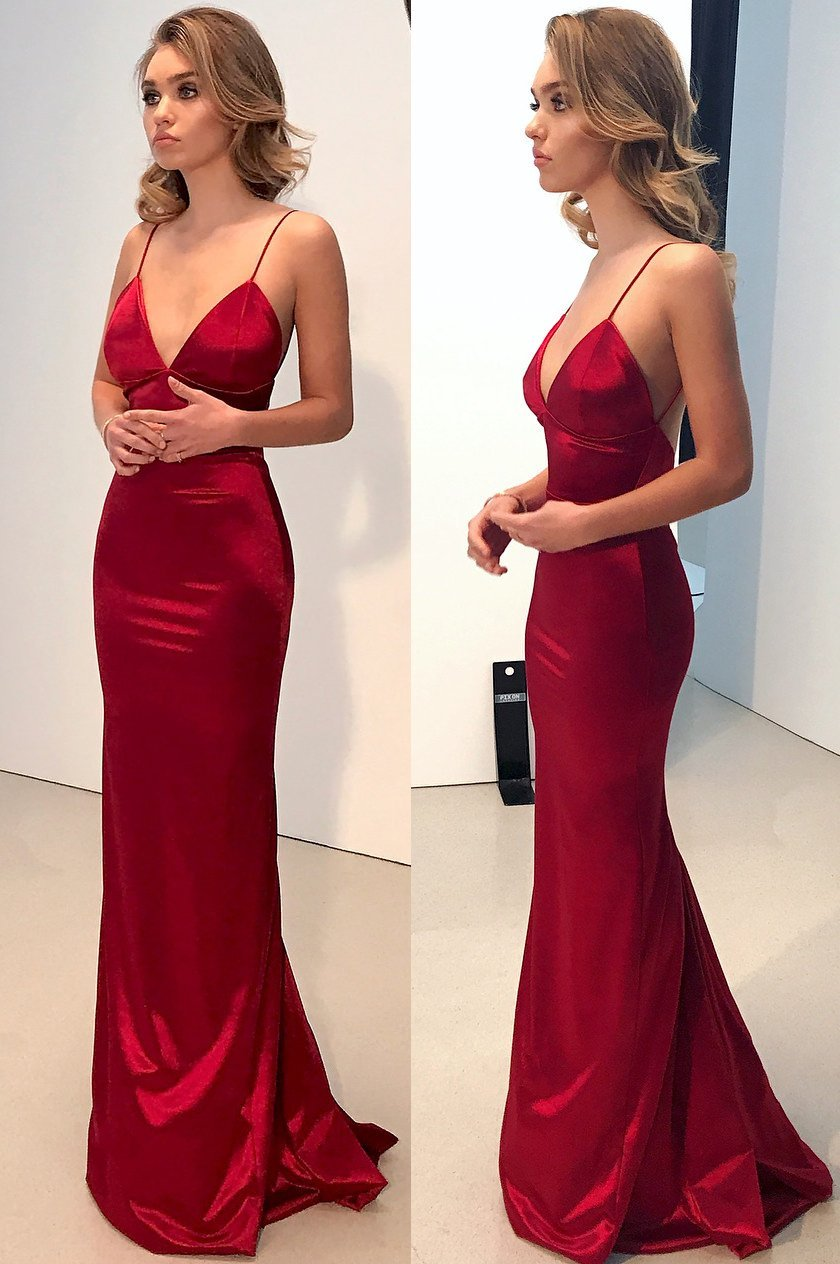 Sexy vneck long prom dresses spaghetti straps evening dresses