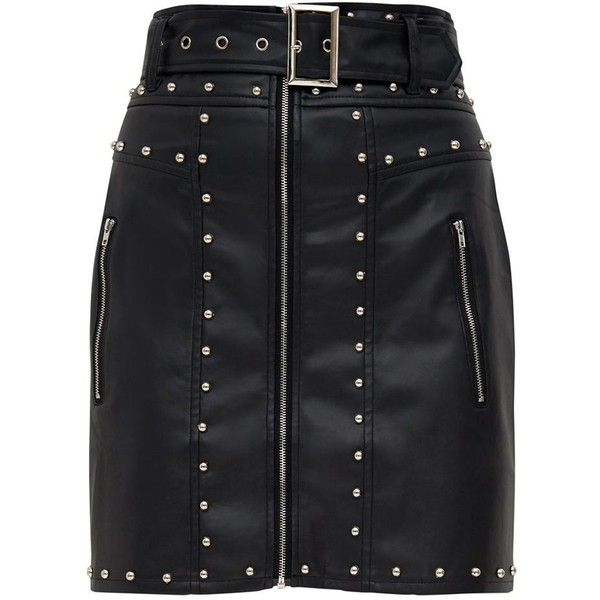 49807d05307 Red Faux Leather Stud Detail Belted Mini Skirt ( 33) ❤ liked on Polyvore  featuring skirts