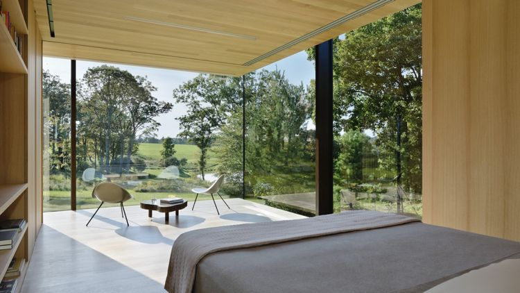 große Panoramafenster statt Außenwände Schlafzimmer Natur ...