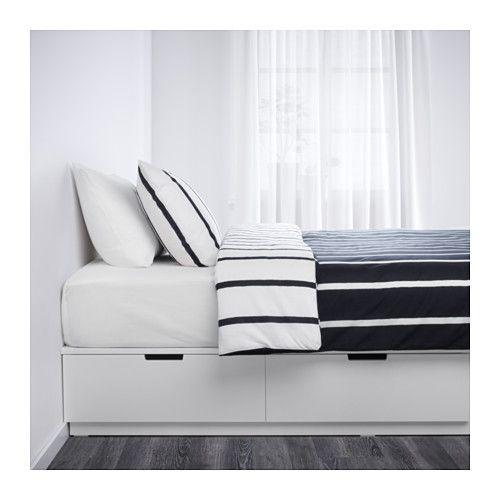 Nordli Bed Frame With Storage White Queen Sengeramme