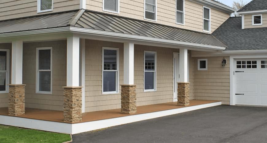 Diy Stone Porch Posts Wraps House Columns Stone Porches Porch Columns