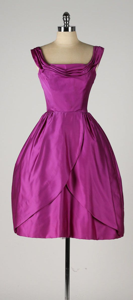 vintage 1950s dress . magenta satin . tulip by millstreetvintage ...