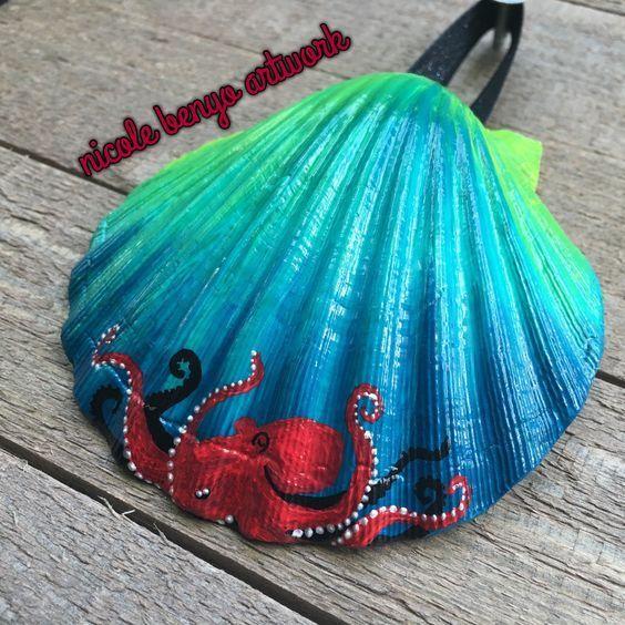 Deniz Kabugu Boyama Ornekleri Seashell Painting