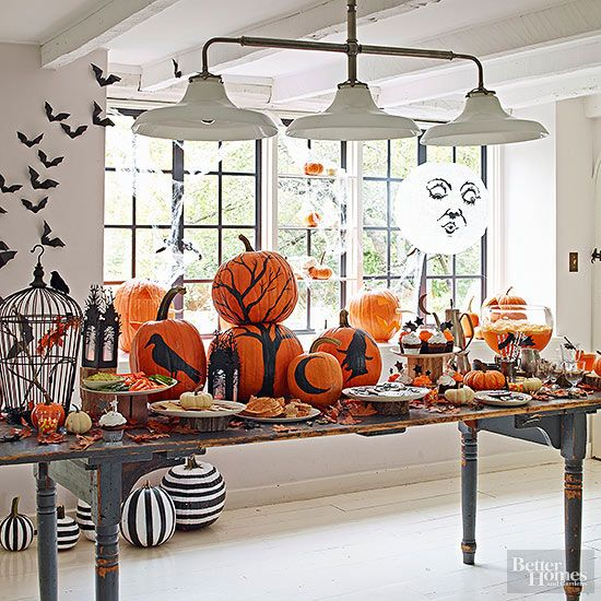 Creative Ideas for Halloween Party Themes Silhouette painting - fall halloween decorating ideas