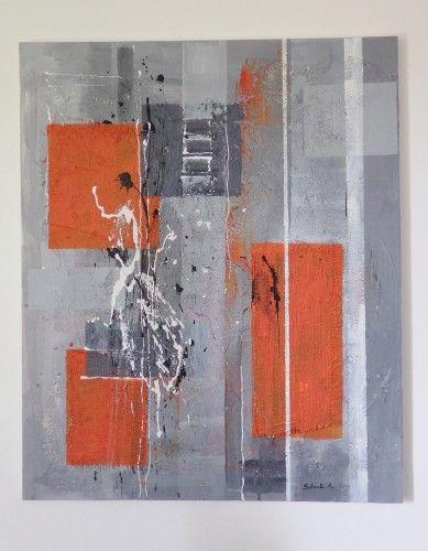 toile de jute (tableau abstrait orange et gris, peinture acrylique