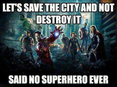 The Avangers really destroy the whole city!