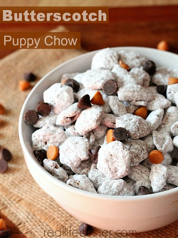 Butterscotch Puppy Chow I Love Butterscotch Puppy Chow Recipes Sweet Snack Mix Sweet Snacks