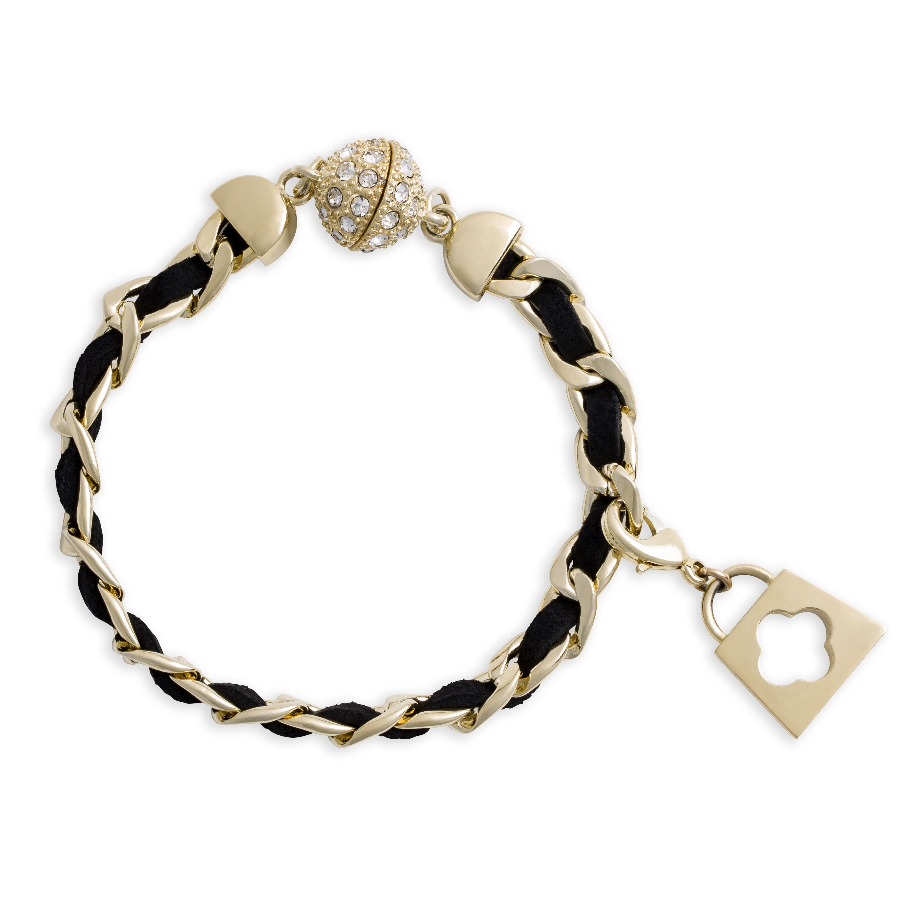 Gold link and leather bracelet/ double necklace accent  Available 2/1/14 at http://janna.miche.com/shop
