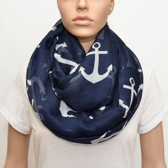 Nautical Anchors Infinity Scarf by NyUrbanAccessories on Etsy, $25.00