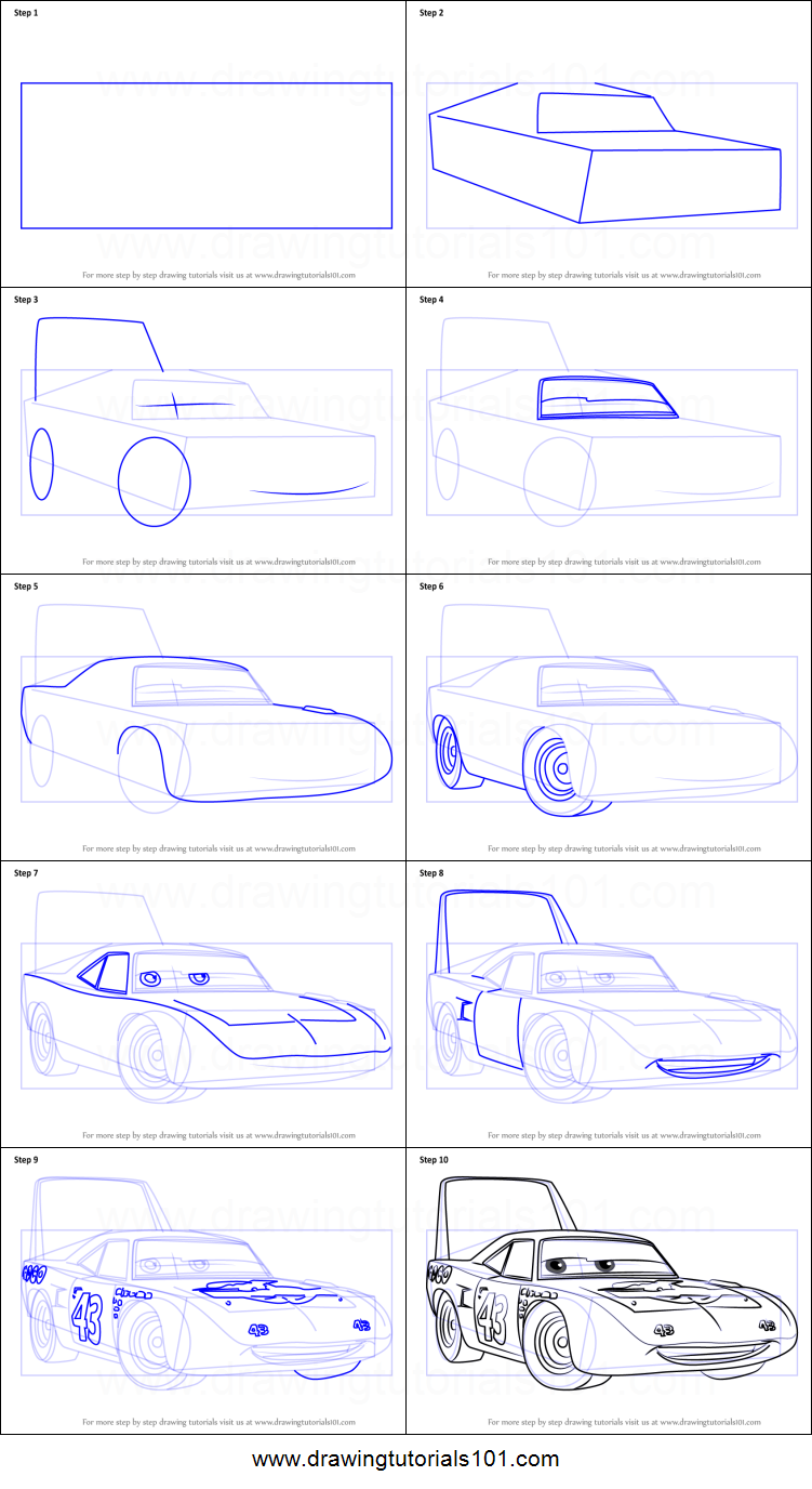 How To Draw The King Aka Strip Weathers From Cars 3 Printable Drawing Sheet By Drawingtutorials1 Drawing Sheet Cartoon Car Drawing Art Drawings Sketches Simple